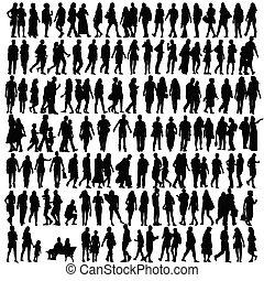 gente, silueta, negro, vector