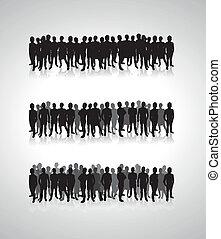 gente, silueta, plano de fondo, líneas