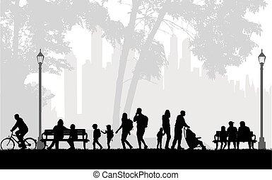 gente, silueta, urbano, fondo.