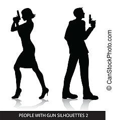 gente, siluetas, arma de fuego