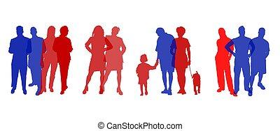 gente, siluetas, coloreado