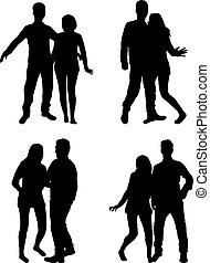 gente, siluetas, -, couples.