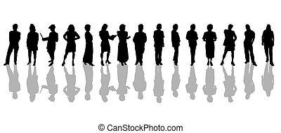 gente, siluetas, negro, blanco