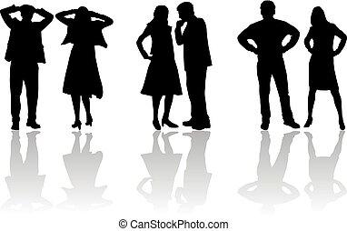 gente, siluetas, -, parejas