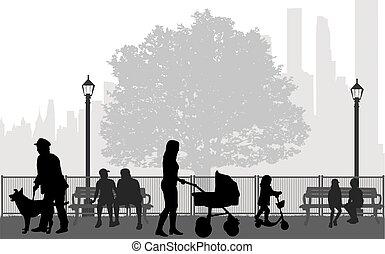 gente, siluetas, urbano, fondo.