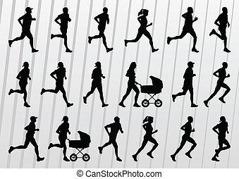 gente, siluetas, vector, maratón, plano de fondo, corredores