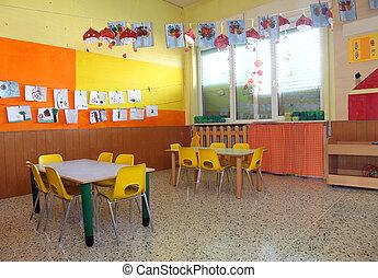 gente, sin, dentro, kindergarden, aula