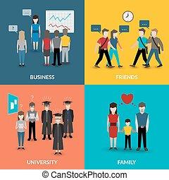 gente, social, comportamiento, patrones