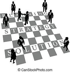 gente, solución, estrategia, planificación, ajedrez, humano