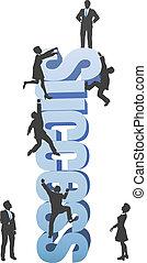 gente, subida, arriba, empresa / negocio, éxito, ambición, palabra