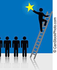 gente, subida, escalera, levantamiento, estrella, símbolo