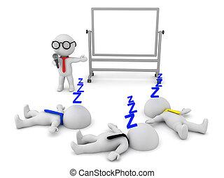 gente, sueño, presentación aburrida, ilustración, pone, 3d