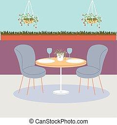 gente, tabla, dos, cenar, sillas