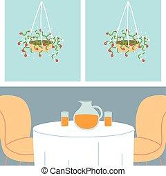gente, tabla, dos, cenar, sillas, lindo