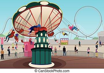 gente, tener diversión, en, parque de atracciones