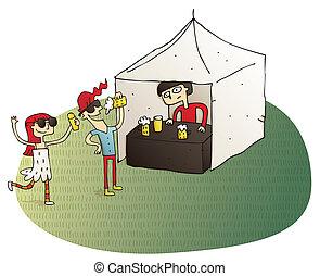 gente, teniendo, joven, diversión, cerveza, bebida
