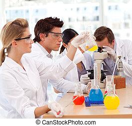 gente, trabajando, en, un, laboratorio