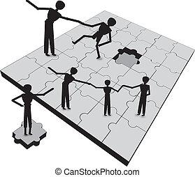 gente, trabajo en equipo, a, éxito