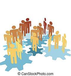 gente, trabajo equipo, conectar, en, azul, engranajes