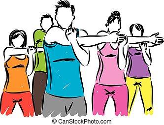 gente, trabajo, ilustración, vector, condición física,...