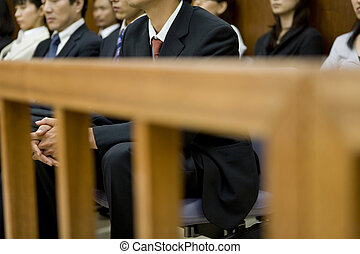 gente, tribunal, galería, sentado