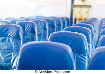 gente, vacío, no, avión, interior