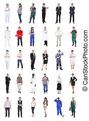 gente, vario, multiétnico, ocupaciones