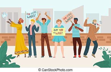 gente, vector, carteles, multitud, multinacional, reunión, ...