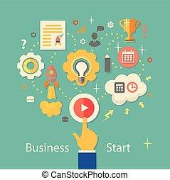 gente, vector, engranajes, inicio, empresa / negocio, ...