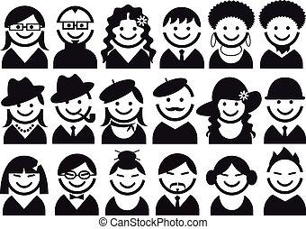 gente, vector, icono, conjunto