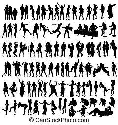 gente, vector, negro, silueta