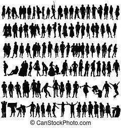 gente, vector, negro, silueta, hombre y mujer