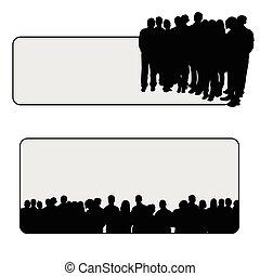 gente, vector, silueta, ilustración