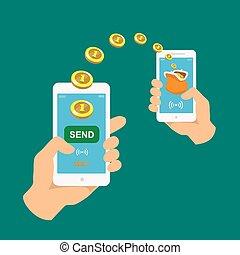 gente, vector, su, tenencia, phones., estilo, receiving, manos, icons., banca, smartphones., pago, transmitir, radio, dinero, apps., móvil, plano