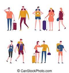 gente, viajeros, iconos, vector, viajar, caricatura