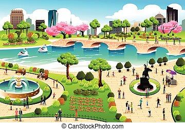 gente, visitar, un, parque público