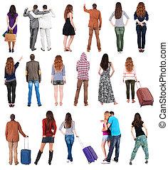 """gente, vista, espalda, colección, """", """"."""