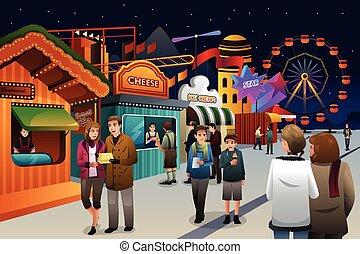 gente, yendo, a, parque de atracciones