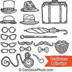 Gentelman Vintage Accessories Doodle Black Set