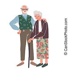 gentil, couple, joyeux, sourire, couple., personnes agées