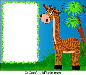 gentil, crèche, fond, paumes, girafe, cadre