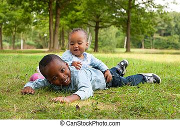 gentil, enfants, africaine