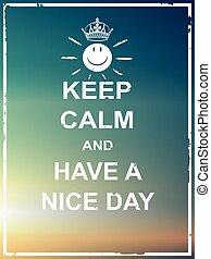 gentil, jour, garder, avoir, calme
