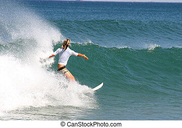 gentil, plage, girl, fond, virages, wave., newcastle, australie
