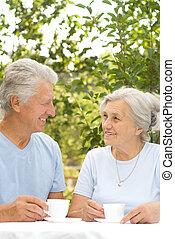 gentil, vieux, couple
