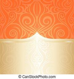 gentile, arancia, matrimonio, floreale, fondo