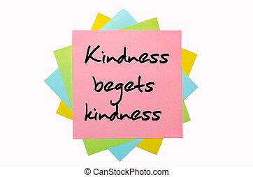 """gentillesse, """", coloré, texte, notes, main, police, écrit, collant, begets, tas"""