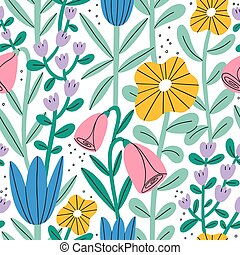Gentle abstract pastel floral garden, vector seamless pattern