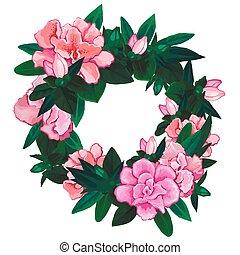 Gentle azalea wreath. Vector floral wedding design