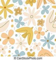 Gentle birds and flowers vector seamless pattern